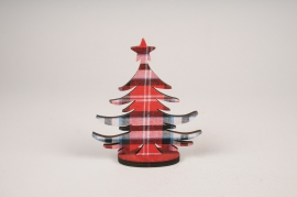 Red wooden christmas tree 15x17cm