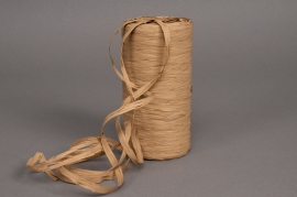 Roll of synthetic raffia natural brown 200m