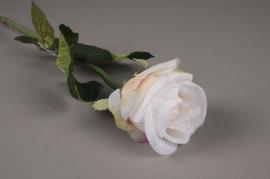 x377di Rose artificielle blanche H55cm