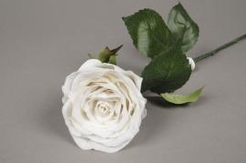 x370jp Rose artificielle blanche H55cm