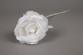 x433di Rose artificielle blanche pailleté H44cm
