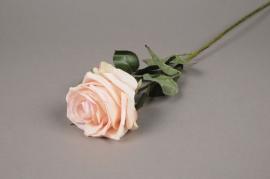 x866nn Rose artificielle crème et rose H64cm