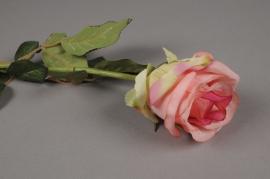 x389di Rose artificielle mauve H55cm