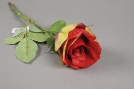 x466jp Rose artificielle rouge H40cm
