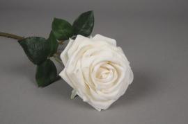 x136fp Rose artificielle velour blanc H50cm