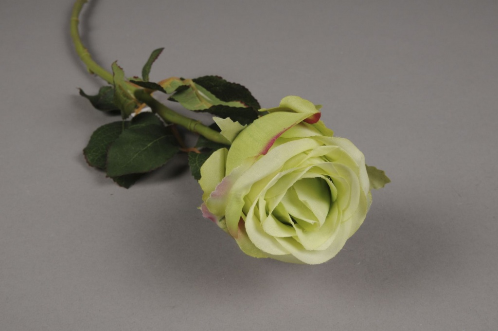 x402di Rose artificielle verte H55cm