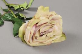 x289fp Rose artificielle verte H73cm