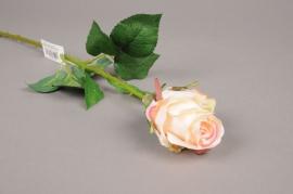 x284mi Rose bouton artificielle crème rose H52cm
