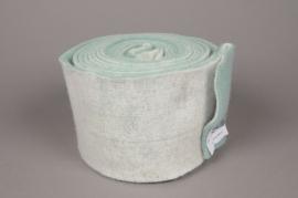 A151VQ Rouleau de laine blanc et turquoise 15cm x 5m