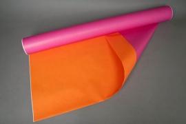 A869QX Rouleau de papier kraft orange / fuchsia 80cm x 50m