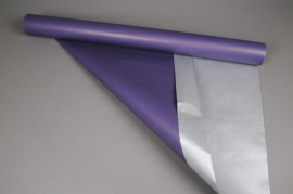 X055QX Double sided kraft paper roll purple / silver 0,8x50m 60g