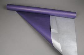 X055QX Rouleau kraft double-face violet / argent 0,80x50m