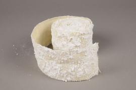 A647UN White jute ribbon with wsonow 80mm x 3m