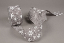 A645UN Grey jute ribbon with print 63mm x 20m