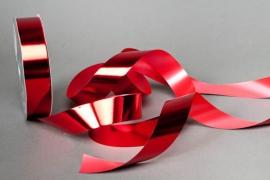 X042ZR Ruban métal brillant rouge 30mm x 100m