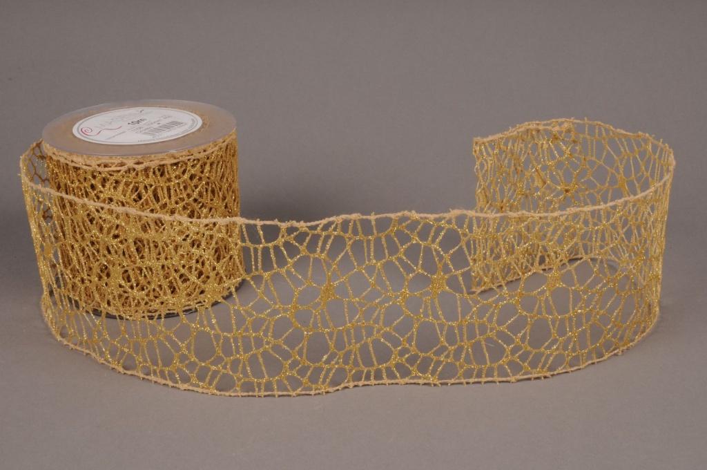 X018EC Ruban tissu maille or 100mm x 10m