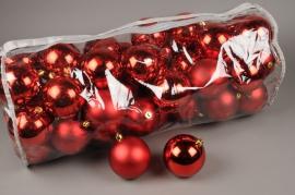 X154ZY Sac de 50 boules plastique rouge D10cm