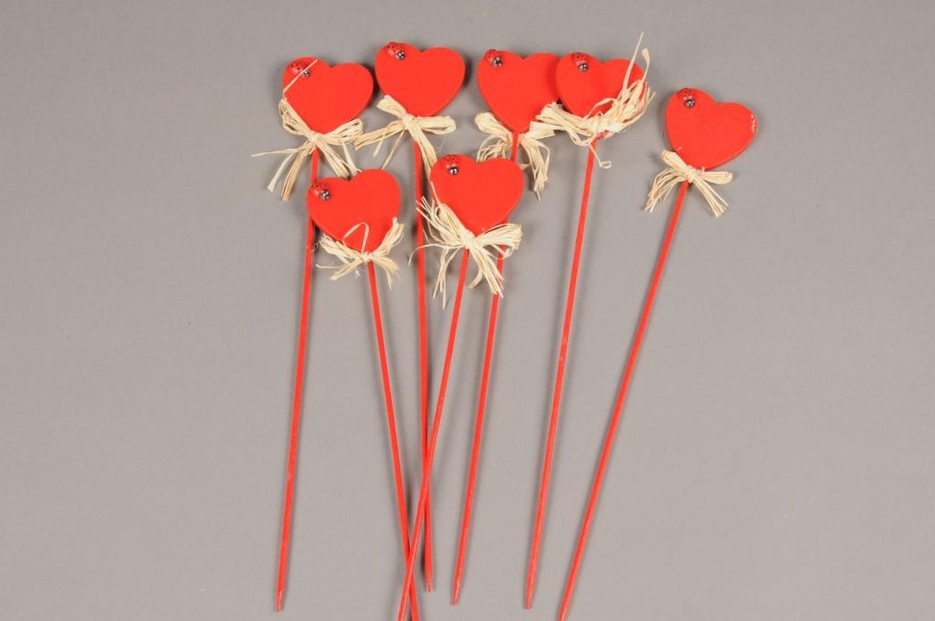 A005D0 Sachet 24 pics coeur avec coccinelle D5cm