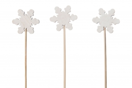 X042U7 Set of 6 wooden snowflake picks H29cm