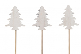 X041U7 Set of 6 wooden christmas tree picks H29cm