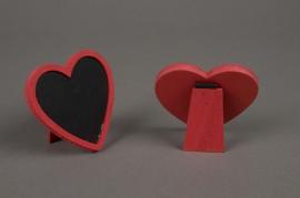 SV23GM Sachet de 2 chevalets coeur rouge ardoise D 7cm