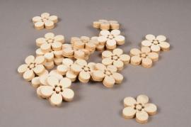 x395mi Sachet de 21 fleurs en bois naturel D3cm