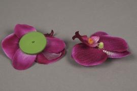 x043dh Sachet de 4 phalaenopsis artificielle pourpre D9cm