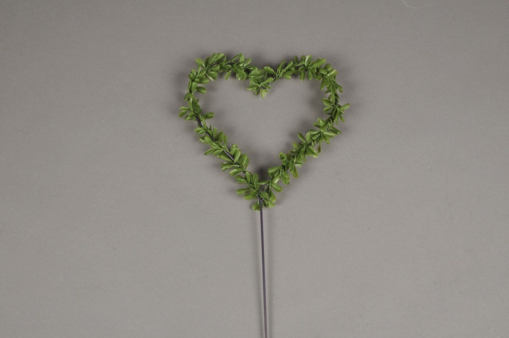 x028ga Sachet de 6 pics coeur avec feuillage vert D11cm