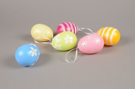E004KI Sachet of 6 decorated eggs H8cm
