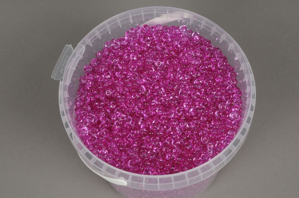 A151QF Seau 2.5L perles de pluie fuchsia transparent