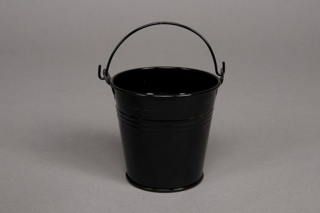 A052KM Seau en zinc noir D11 H10cm