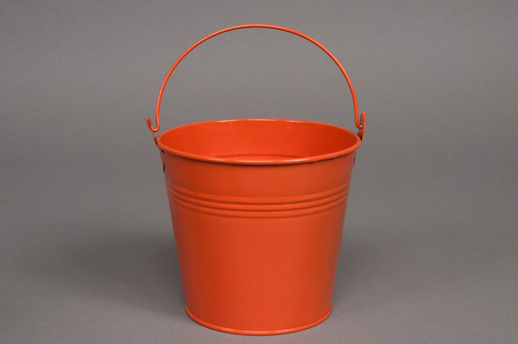 A037KM Seau en zinc orange D11 H10cm