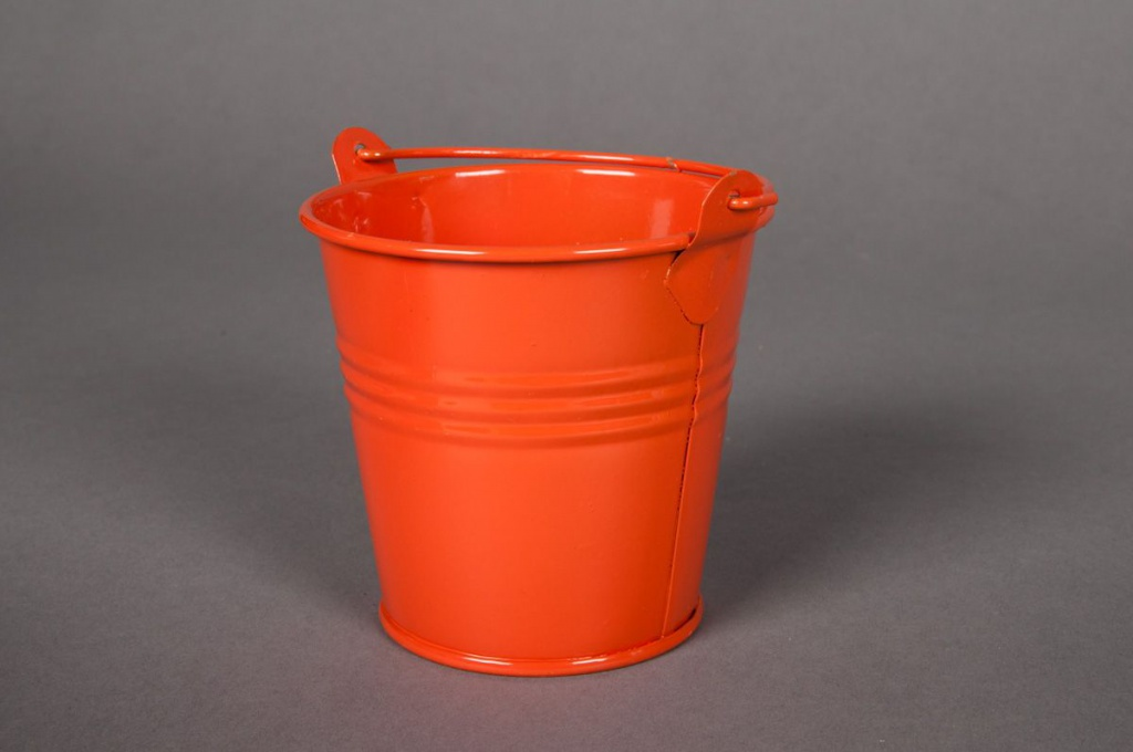 A036KM Seau en zinc orange D8cm H7cm