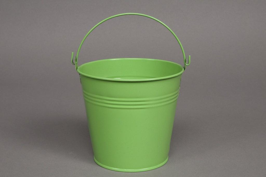 Seau en zinc vert amande D8 H7cm