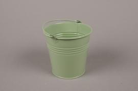 Seau en zinc vert olive D15cm H14cm