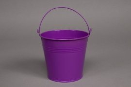 Bucket zinc purple  D8 H7cm