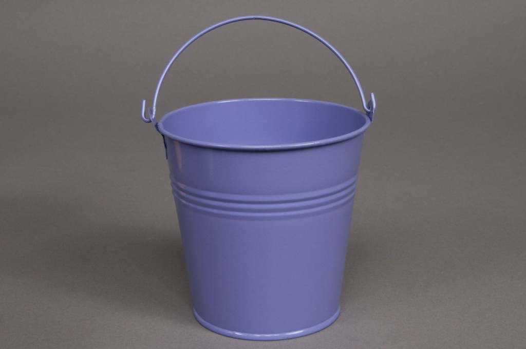 Seau zinc bleu lavande D13 H12cm