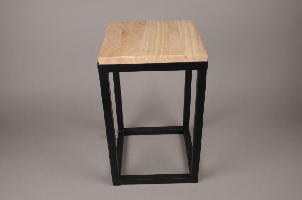 A026AY Sellette en bois et métal 25cm x 25cm H42.5cm