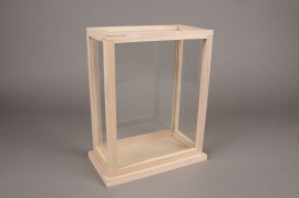 C235DQ Glass and wooden greenhouse 15cm x 26cm H31.5cm