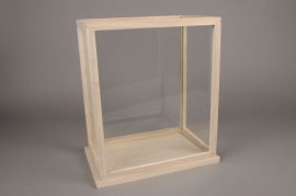 C236DQ Glass and wooden greenhouse 21cm x 32cm H36.5cm