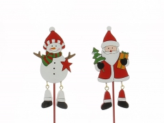 X019Y8 Set of 12 wooden picks with snowman and santa claus assorted H27cm