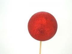 X024Y8 Set de 12 pics boules pailletées rouge D5.5 H50cm