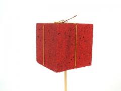 X011Y8 Set de 12 pics cadeaux rouge pailleté 5cm H50cm