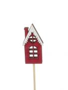 X020Y8 Set de 12 pics chalet rouge en bois H33cm