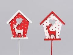 X018X4 Set de 12 pics maison bois H27cm