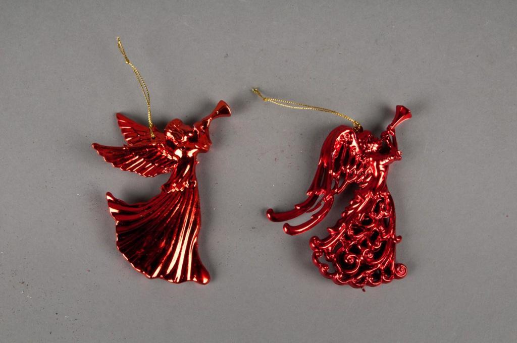 Set de 2 anges rouge 13cm