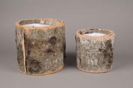 A681UO Set de 2 cache-pots en écorce D20cm H20cm