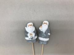 X077LE Set de 24 pics Père Noël gris H27cm