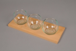 A032R4 Pack of 3 glass vase sphere on wood H8cm