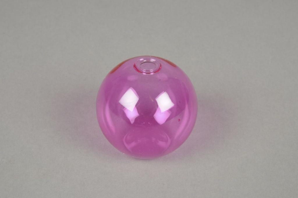 A009U5 Set de 3 soliflores en verre boule rose D5cm